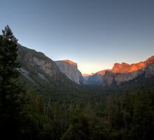 Looking East at Sunset, Yosemite Valley by Don Claybrook