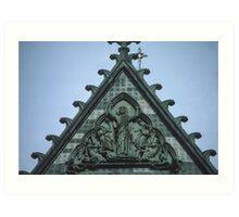 Christ triumphant on top of facia Nidaros Trondheim Norway 19840622 0014 Art Print