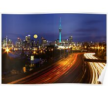 Auckland Cityscape with Moon Raise Poster