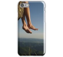 slender female legs on a background of mountains iPhone Case/Skin