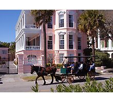 Horse Carriage at the Battery in Charleston Photographic Print