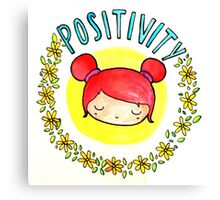 Positivity Kawaii Canvas Print