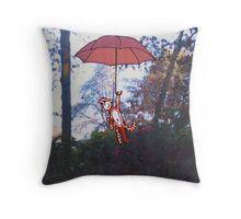 Little Monkey Red Umbrella Throw Pillow