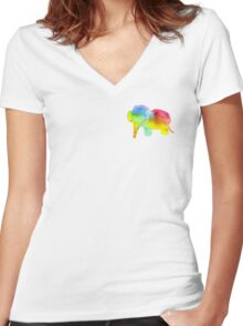 Rainbow Swirl Elephant Women's Fitted V-Neck T-Shirt