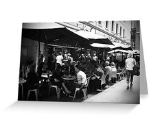 Lunch with friends at Degraves Espresso, Melbourne Greeting Card
