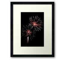 Double Pink and WhiteFireworks Framed Print