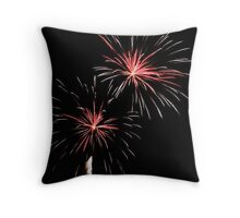 Double Pink and WhiteFireworks Throw Pillow