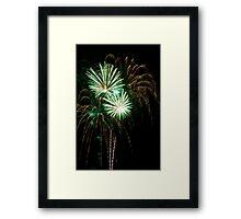Double Green Fireworks Framed Print