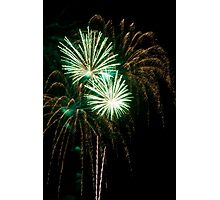 Double Green Fireworks Photographic Print