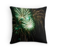 Double Green Fireworks Throw Pillow