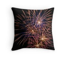 Multiple Blue and Orange Fireworks Throw Pillow