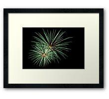 Double Green Large Fireworks Framed Print