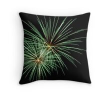 Double Green Large Fireworks Throw Pillow
