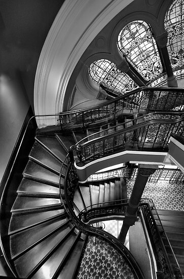 Off The Rails  (Monochrome) - QVB , Sydney - The HDR Experience by Philip Johnson