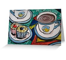 Tea for Three - Tea and Cake Section by Heather Holland Greeting Card