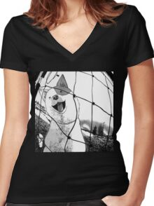 Beck doggy Women's Fitted V-Neck T-Shirt