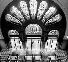Staircase Addiction (Monochrome) - QVB , Sydney Australia - The HDR Experience by Philip Johnson