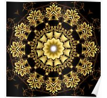 A Golden Fractal Fantasy Kaleidoscope Ring Poster
