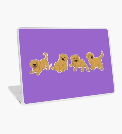 Golden Retriever Puppy Pattern - Purple Laptop Skin