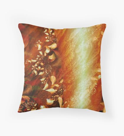 Fall Challenge, Amber Leaves on the Bark Throw Pillow