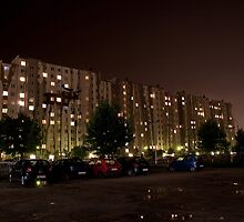 Mural on a block of flats at night by PawKam