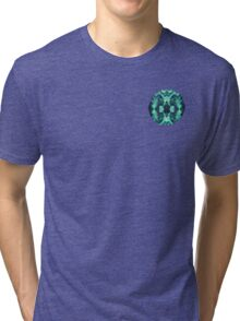 Abstract Surreal Chaos theory in Modern poison turquoise green Tri-blend T-Shirt