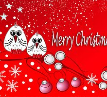 Cute X-mas card with birds and snow by walstraasart