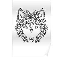 Wolf Face triangles poster illustration  Poster