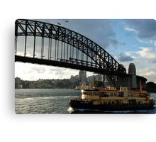 as the lady herron cuts its way to circular quay Canvas Print