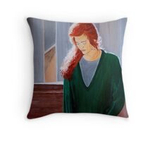 Charlotte Sometimes - Acrylic portrait painting of peace, rest and humility Throw Pillow