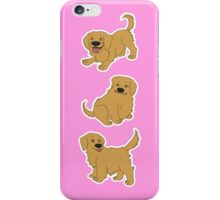 Golden Retriever Puppy Pattern - Pink iPhone Case/Skin