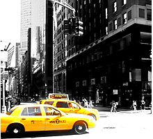 new york city and taxi's Photographic Print