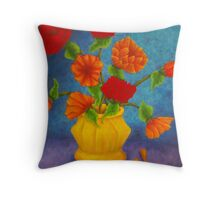 Red & Orange Flowers Throw Pillow