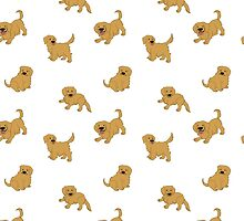 Golden Retriever Puppy Pattern - White by DeadHeadDarling