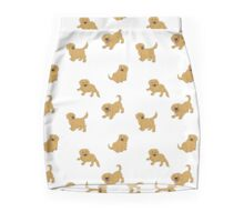 Golden Retriever Puppy Pattern - White Mini Skirt