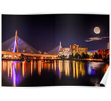 Moon light over Zakim bridge Poster