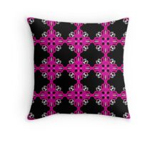 Hot pink and black, geo geometric pattern, bold design Throw Pillow