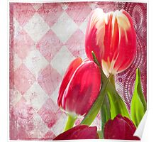 Hot pink and cream tulips, vintage writing, Harlequin print Poster