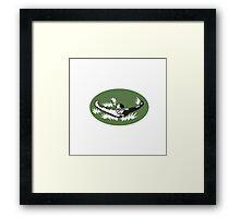 Swimmer Butterfly Stroke Swimming Woodcut Framed Print