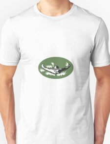 Swimmer Butterfly Stroke Swimming Woodcut Unisex T-Shirt