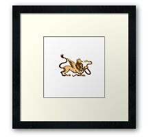 Griiffin Snake Side View Woodcut Framed Print