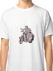 Messenger Riding Scooter Woodcut Classic T-Shirt
