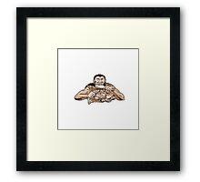 Neanderthal Man Eating Paleo Diet Etching Framed Print