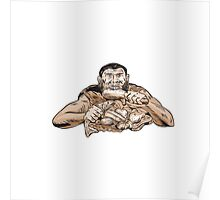 Neanderthal Man Eating Paleo Diet Etching Poster
