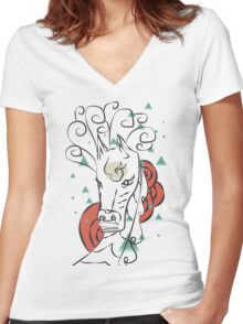 Horse In The Wind Women's Fitted V-Neck T-Shirt