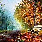 Lonely Bench - Original Art Oil Painting On Canvas By Leonid Afremov by Leonid  Afremov