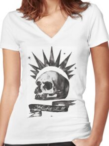 Chloe's Shirt - Misfit Skull Women's Fitted V-Neck T-Shirt