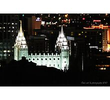 Over Looking Salt Lake Temple at Night Photographic Print