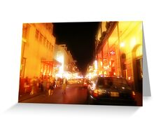 fleeting faces in the night burn themselves into my mind Greeting Card