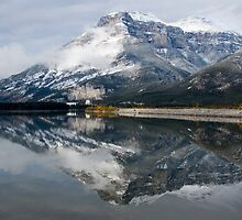Peak Reflecting in Lac Des Arc, Canmore Area, Alberta, Canada by Kerri Gallagher